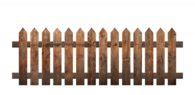 Brązowy drewniany płot na białym tle