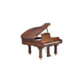 Brązowy fortepian na białym tle