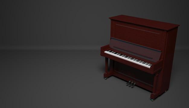 Brązowy fortepian na ciemnym tle, ilustracja 3d