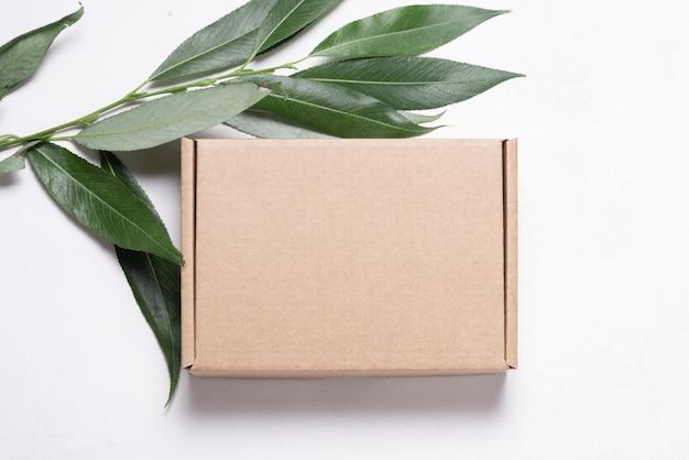 Brązowy karton pudełko kartonowe na świeże zielone liście