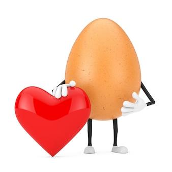 Brązowy kurczak jajko osoba maskotka znaków z czerwonym sercem na białym tle. renderowanie 3d