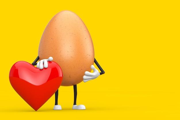 Brązowy kurczak jajko osoba maskotka znaków z czerwonym sercem na żółtym tle. renderowanie 3d