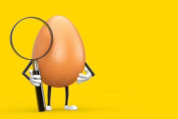 Brązowy kurczak jajko osoba maskotka znaków z lupą na żółtym tle. renderowanie 3d