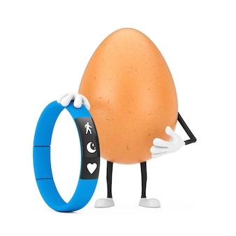 Brązowy kurczak jajko osoba maskotka znaków z niebieskim fitness tracker na białym tle. renderowanie 3d