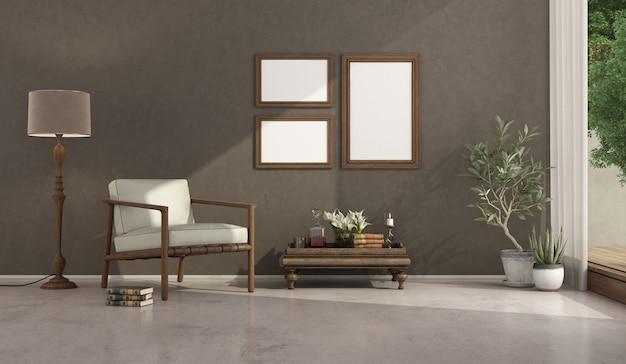 Brązowy minimalistyczny salon z meblami w stylu vintage