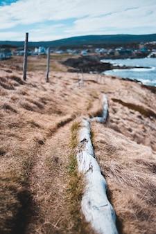 Brązowy piasek w pobliżu zbiornika wodnego w ciągu dnia