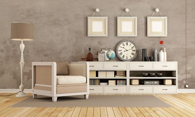Brązowy pokój w stylu vintage z fotelem i kredensem z dekoracjami. renderowanie 3d