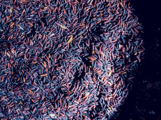 Brązowy ryż z bliska widok z góry
