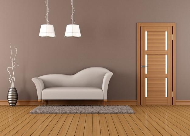 Brązowy salon z białą sofą