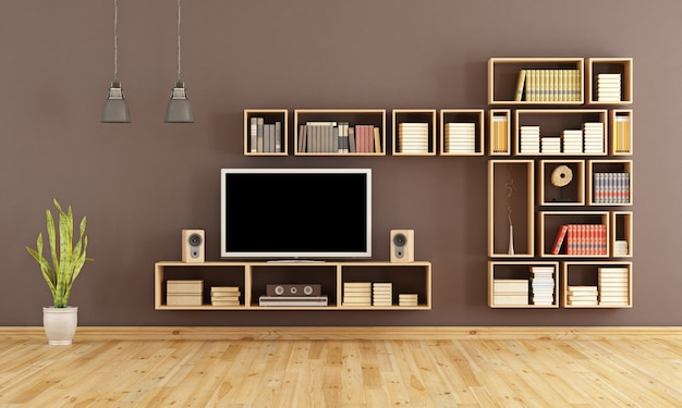 Brązowy salon z drewnianym regałem i systemem kina domowego. renderowanie 3d
