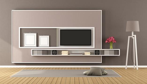 Brązowy salon z telewizorem