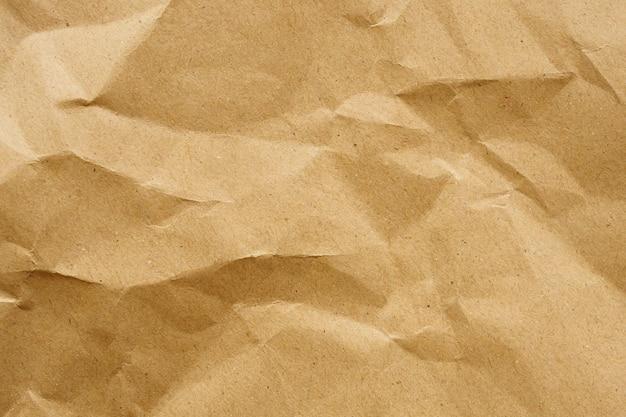 Brązowy zmięty papier z recyklingu kraft arkusz tekstury tła
