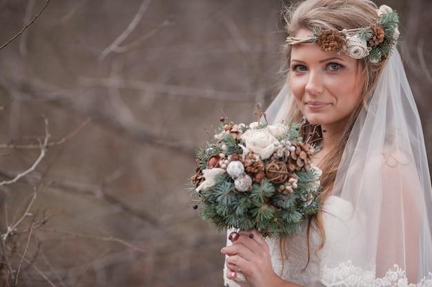 Bride z welon i bukiet