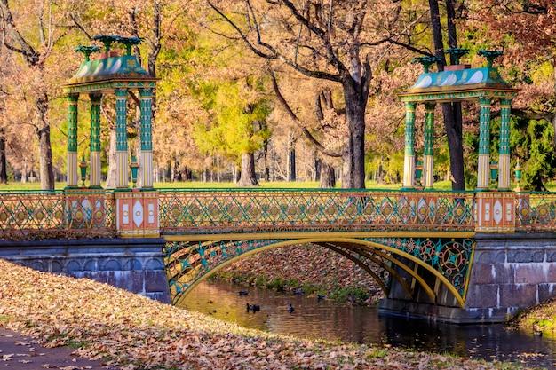 Bridges city autumn park. złota jesień. jesień w parku. żółte liście.