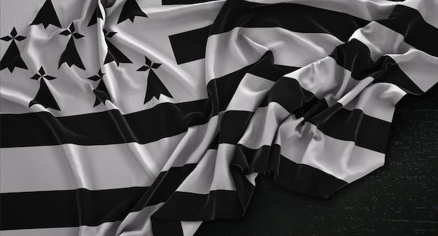 Brittany flag zgnieciony na ciemnym tle renderowania 3d