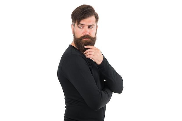 Broda kaukaski facet kopii przestrzeni. zarost. różne style brody dla mężczyzn. utrzymuj brodę w idealnym stanie. brutalny hipster z brodą włosy na białym tle. brodaty mężczyzna stylowy kształt wąsów.