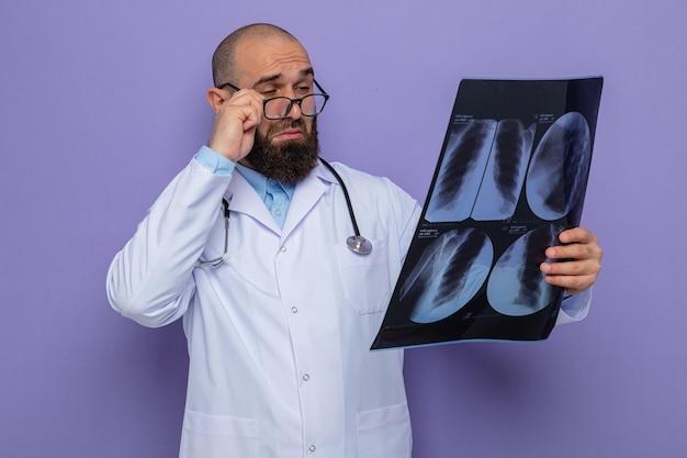 Brodaty mężczyzna lekarz w białym fartuchu ze stetoskopem na szyi w okularach trzymających prześwietlenie, patrząc na to ściśle koncentrując się, stojąc na fioletowym tle