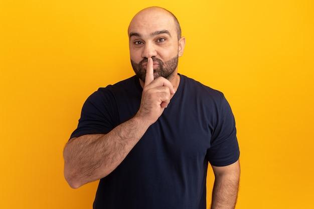 Brodaty mężczyzna w granatowej koszulce robi gest ciszy z palcem na ustach stojąc na pomarańczowej ścianie