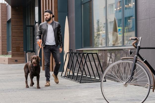 Brodaty młody człowiek w dżinsach i skórzanej kurtce idzie ulicą miasta, jednocześnie odpoczywając z rasowym psem