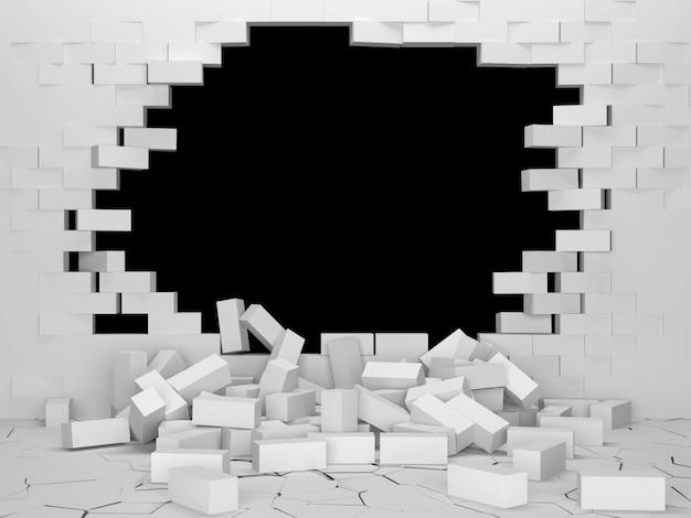 Broken brick white wall z dużą dziurą