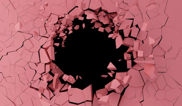 Broken pink wall z dużą dziurą