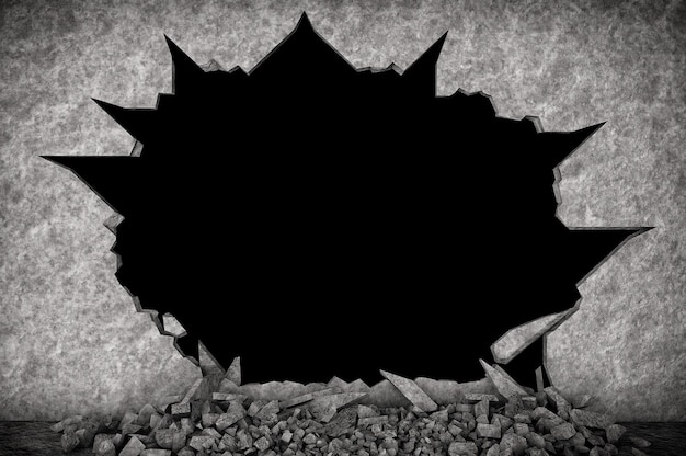 Broken stone wall na czarnym tle