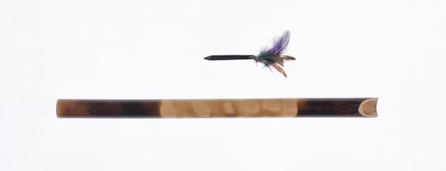 Broń z dmuchawką z bambusa i drewna oraz używanie trującej igły