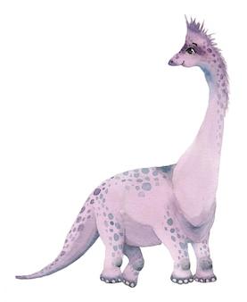 Brontozaur dinozaury akwarela