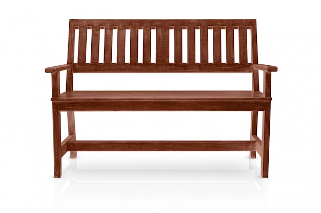 Brown drewniana ławka odizolowywająca na białym tle