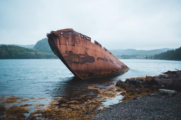 Brown łódź na zbiorniku wodnym w pobliżu drzew w ciągu dnia