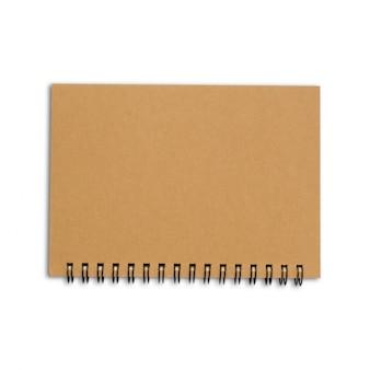 Brown okładkowy notatnik na odosobnionym białym tle z ścinek ścieżką
