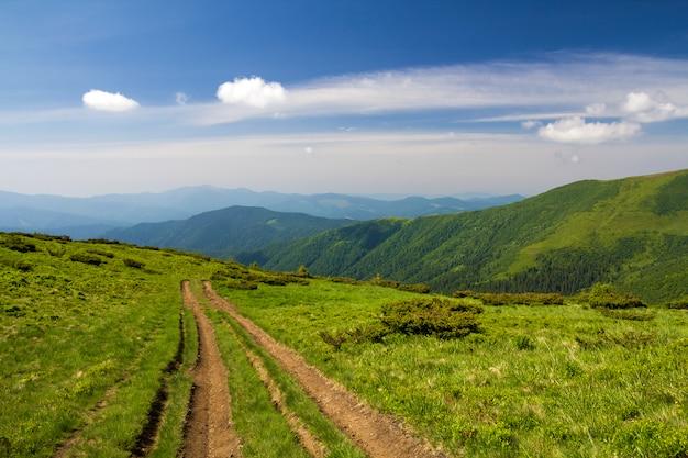 Brud samochodu ślad na zielonym trawiastym wzgórzu prowadzi lesistych gór grań na jaskrawym niebieskim niebie