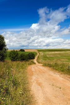 Brudna Droga Wiejska Przechodząca Przez Pole Gospodarstwa Premium Zdjęcia