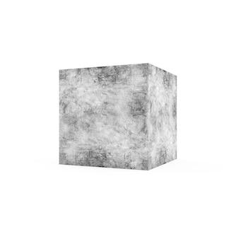 Brudna kostka betonu na białym tle. renderowanie 3d