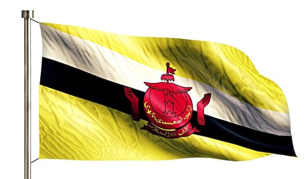 Brunei flaga narodowa pojedyncze 3d białe tło