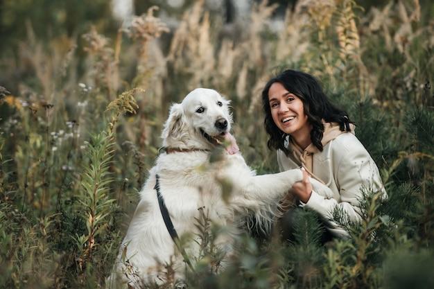 Brunetka dziewczyna z białym psem golden retriever w polu