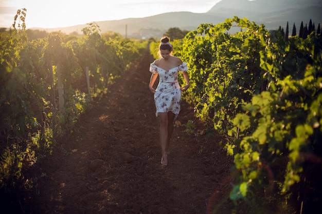 Brunetka kobieta w białej sukni stoi latem w winnicy we włoszech
