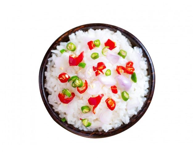 Brwi ryżowego korzennego azjatykciego jedzenie odizolowywającego na bielu