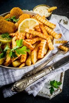 Brytyjskie jedzenie, ryby z frytkami