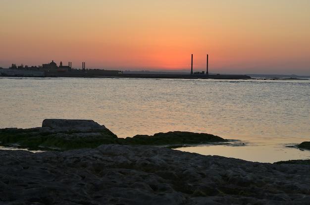 Brzeg morza kaspijskiego z rośliną w letni wieczór o zachodzie słońca
