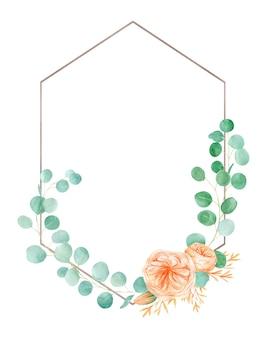 Brzoskwinia i pomarańcza akwarela kwiat róży rama z angielską różą austin i eukaliptusem.