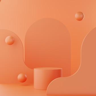 Brzoskwiniowy kolor abstrakcyjne tło z podium do fotografii dumuct