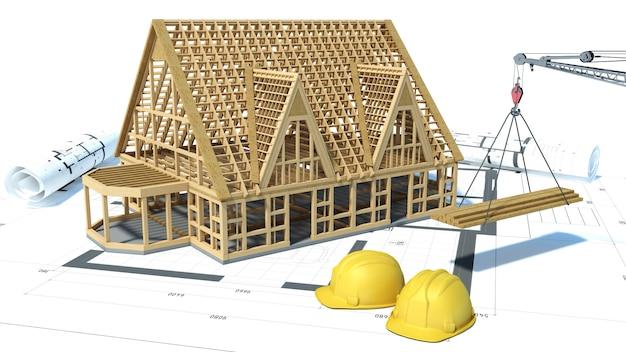 Budowa dom nad białym tłem
