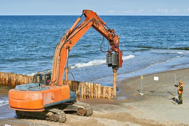 Ð¡ budowa falochronów z pni drzew na wybrzeżu morskim.