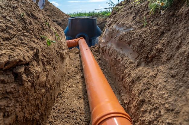Budowa kanalizacji deszczowej do zbiornika zbiorczego za pomocą plastikowej rury.