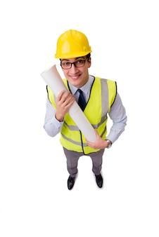 Budowa nadzorca odizolowywający na białym tle