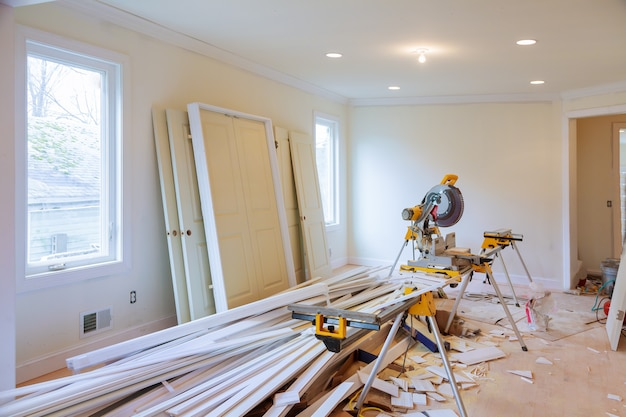 Budowy przemysłu budowlanego nowego domu budowy wnętrza drywall taśma. ściany budowlane gipsowe