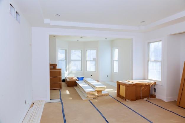 Budowy przemysłu budowlanego nowego domu budowy wnętrza drywall