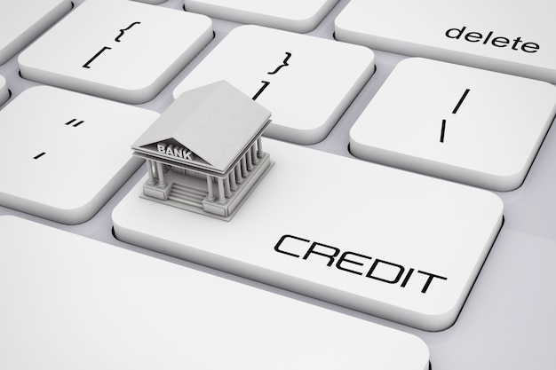 Budynek banku na klawiaturze komputera z ekstremalnym zbliżenie znak kredytu. renderowanie 3d.