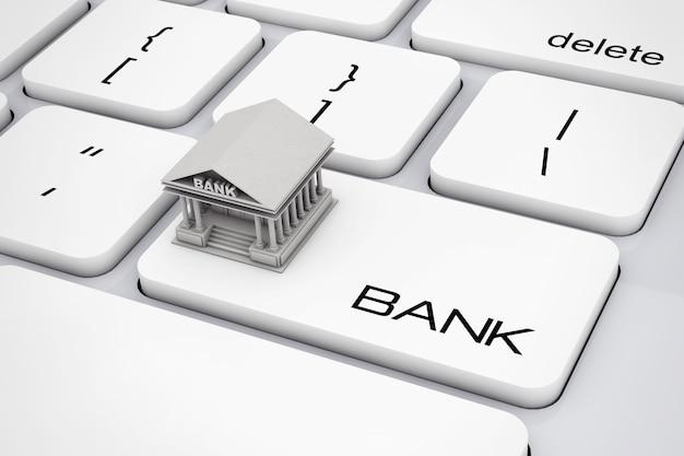 Budynek banku na klawiaturze komputera z ekstremalnym zbliżeniem znak banku. renderowanie 3d.